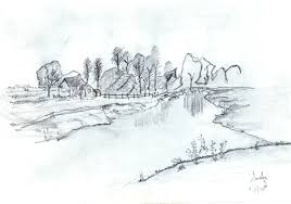 sceneries pencil drawings interior live style