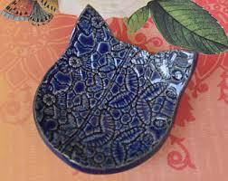 ceramic cat ring holder images Black cat ring dish ceramic pottery tea bag rest jpg