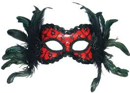 red burlesque style feather mask
