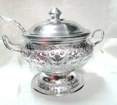 thai design aluminum rice serving bowl