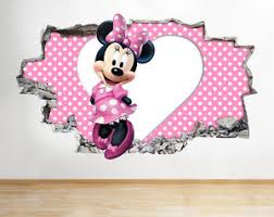 poster chambre fille h082 minnie mouse nursery wall decal poster 3d