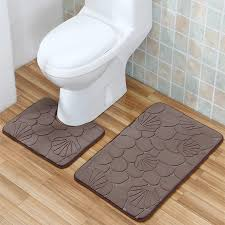 Modern Bathroom Rug Bathroom Mat Set 2pcs Geometric Embossing Pattern Bathroom Rug Non