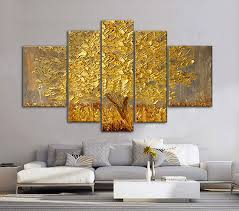 5 piece canvas wall art hand painted palette knife oil golden abstract fortune lucky trees handmade landscape oil paintings