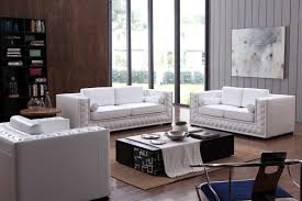 White Leather Couch Living Room Divani Casa Dublin Modern White Leather Sofa Set W Buttons