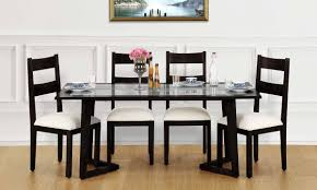 buy anders 6 seater dining table glass top online in india