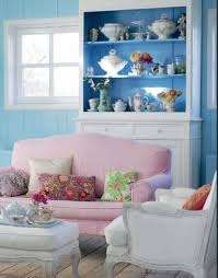 White Pink Living Room by Pink And Blue Pastel Shabby Chic Interiors By Color
