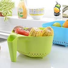 fruit and vegetable basket 3 color plastic multi functional kitchen creative wash fruit