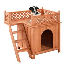 Outdoor Shelter Plans Costway Wooden Puppy Pet Dog House Wood Room In Outdoor Raised