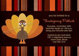 tom turkey thanksgiving potluck invite printable invitation