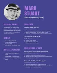 Dance Resume Template Purple Theater Choreographer Dancer Resume Templates By Canva