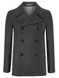john lewis mallalieu wool pea coat in gray for men lyst