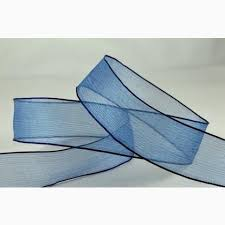 navy blue wired ribbon wired sheer coloured edge ribbon 25mm navy blue from the ribbon