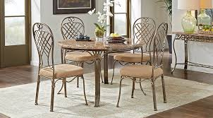 Round White Kitchen Table Iron by Alegra Metal 5 Pc Round Dining Set With Stone Top Dining Room
