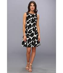 Long Sleeve Black Fit And Flare Dress Maggy London Leaf Printed Cotton Sateen Fit And Flare Dress In