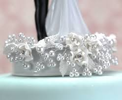 pearl cake topper wedding collectibles vintage pearl and heart