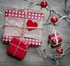 christmas gift wrapped in red checked paper shabby chic stock
