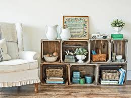 upcycle wood crates into a rustic bookshelf hgtv
