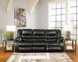 Leather Reclining Sofa Loveseat by Linebacker Durablend Black Reclining Living Room Set From Ashley