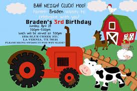 theme invitations farm theme birthday invitation