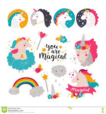 unicorn rainbow set of baby unicorn and rainbow stock vector image 74941347