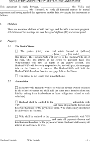 property settlement agreement images agreement example ideas