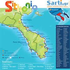 Greece Maps by Sarti Halkidiki Maps Sithonia Beaches Map Mount Athos Map
