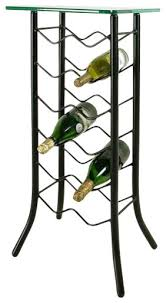12 bottle wrought iron wine rack with glass top server