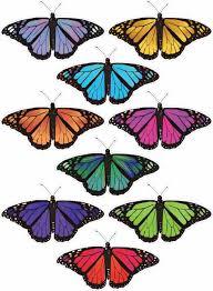coloured butterflies x 9
