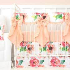 Pink Floral Crib Bedding Caden Boho Chic Floral Crib Bedding Bumper Less Baby