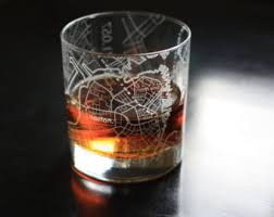 houston map glasses etched whiskey glass etsy