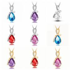 crystal drop pendant necklace images Rhinestone crystal water drop pendant necklace for women jpg
