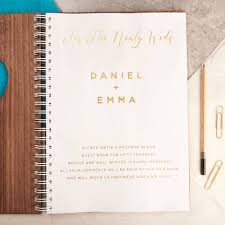 wedding wishes book personalised gold walnut heart wedding guest book by oakdene