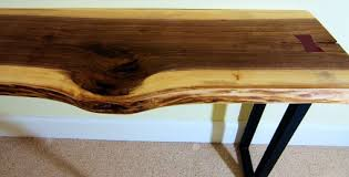 Black Walnut Table Top by Hand Crafted Black Walnut Live Edge Table Top With Industrial