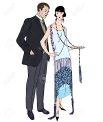 cocktail party cartoon couple on party man and woman in cocktail dress in vintage style