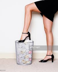 Wastepaper Basket Woman Crushing Paper Into Wastepaper Basket Stock Photo Getty Images