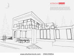 house structure architecture abstract drawing 3d stock vector