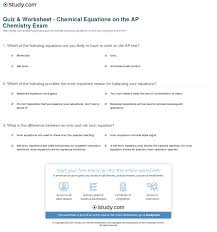 quiz u0026 worksheet chemical equations on the ap chemistry exam