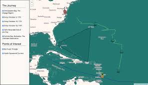 Bermuda Triangle Map Visualizing George Washington U0027s Voyage To Barbados The
