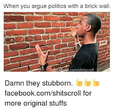 Brick Wall Meme - when you argue politics with a brick wall comshitscroll ce damn they