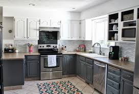 tile countertops grey and white kitchen cabinets lighting flooring