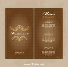 vintage restaurant menu template in brown tones vector free download