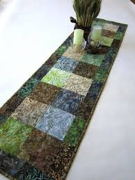 batik table runner in blue green and brown u2013 patchwork mountain