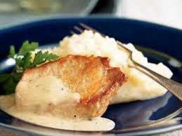 pork chops with country gravy mashed potatoes recipe myrecipes