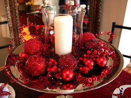home decor red decor bowl with glass candle centerpieces plus red christmas ball