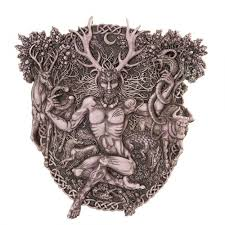 cernunnos horned god celtic wall plaque stone finish wicca pagan