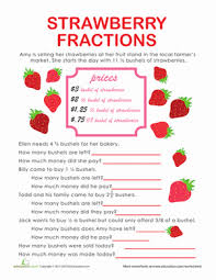 math problem fractions fraction word problems strawberry stand worksheet education