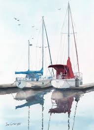 his and hers sailing boats watercolour painting by joe cartwright