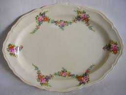 vintage edwin m knowles china floral serving platter from