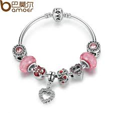 pink heart bracelet images Bamoer silver love chain charm bracelet with pink heart charms jpg