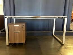 Mobile Reception Desk Benching Desk With Mobile Pedestal Mocha Conklin Office Furniture